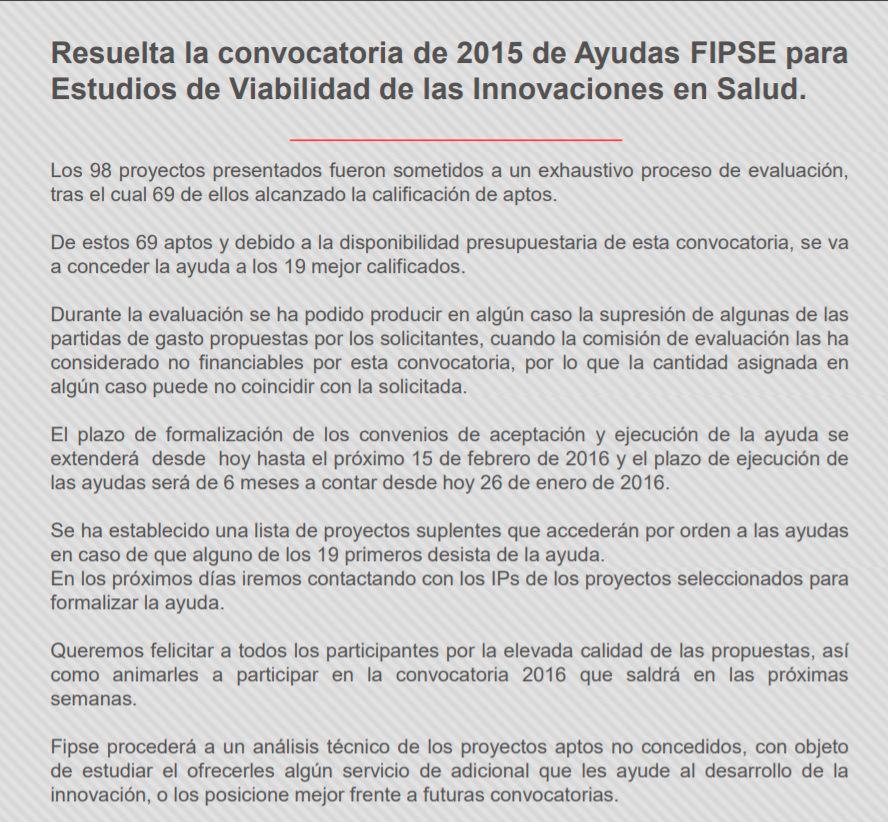 Resolución convocatoria 2015